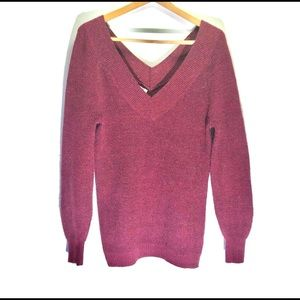 Maurices Oversized V-neck Maroon Knit Sweater Red